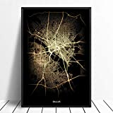 Leinwanddruck,Dallas Schwarz Golden Custom Welt Stadtplan