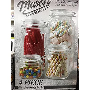 Mason Craft & More 4 piece glass preserving jars