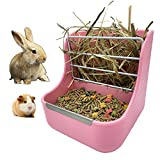 Rabbit Hay Feeders Rack,2 in 1 Feeder Bowls Double for Grass/Food for Small Animal Supplies Rabbit Chinchillas Guinea Pig Hamsters (Pink)