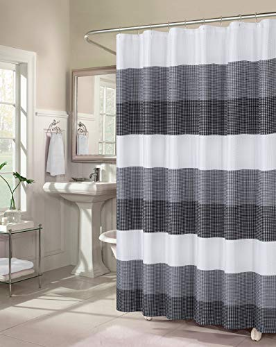 Dainty Home Waffle Weave Ombre Stripe Fabric Shower Curtain, 70 inch Wide x 72 inch Long, Textured Black