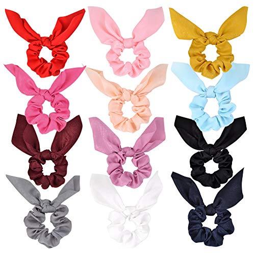 Pritties Accessories Haargummis, Chiffon, mit Schleife, Chiffon, Pferdeschwanz-Halter, weich, elegant, elastisch, 12 Farben