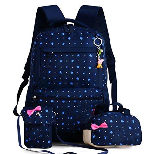 Schoolrugzak voor kinderen, schoolrugzak, 3-in-1, schooltas, zeildoek, rugzak voor jongeren, scholieren, ideaal voor school, vrije tijd, reizen, wandelen Bleu foncé + bleu ciel