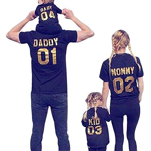 Minetom Mujer Manga Corta T-Shirt Ropa Familia Camiseta Papá Mamá Baby Kid Impresión Casual Moda Tops Verano Túnica Pullover 01 Papády EU L