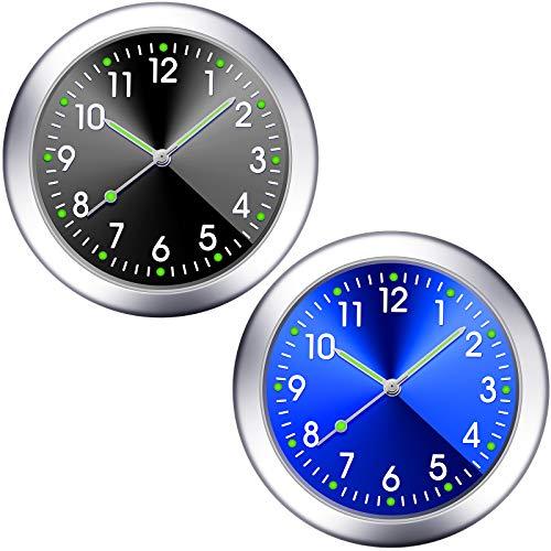2 Pieces Stick on Dashboard Car Clock Mini Tiny Small Luminous Car Vent Clocks Watch for Dashboard Boat Bike Home (Black, Blue)