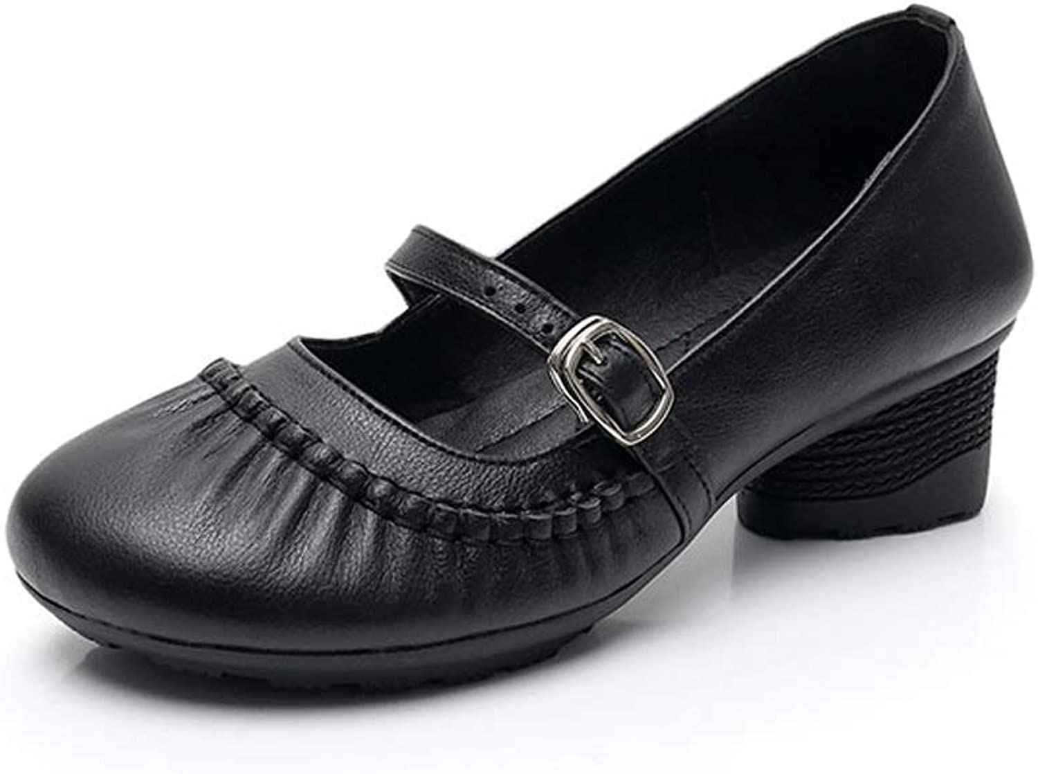 TARSHIN Single shoes Women's shoes Thick with Shallow Mouth Round Head Ladies shoes Ethnic Style Mother shoes