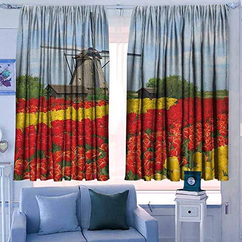 Verduisteringsgordijnen voor kamer donkere panelen voor woonkamer slaapkamer windmolen Australische Outback Geïnspireerd Artwork Cowboy op paard bij zonsondergang aarde geel zwart en wit
