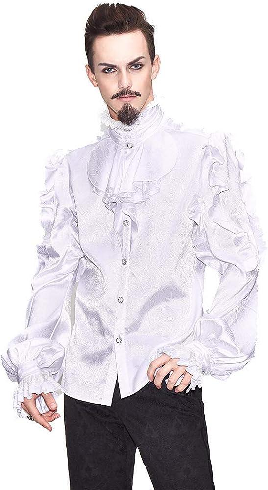 Devil Cheap Fashion Men's Gothic Steampunk Blouse Cheap super special price Long High-Nec Sleeve