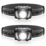 GearLight LED Headlamp Flashlight X500 [2 PACK] - 210 Lumens, 6 Hour Runtime, Multi-Color Flood Light, Running, Camping, and Hunting Headlamps - Best Head Lamp for Adults and Kids