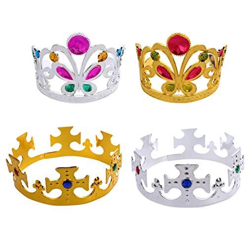 Lurrose 4 Piezas Coloridas Coronas de Plástico Reina Tiara Corona Rhinestone Tiara Diadema Fiesta Decoración Del Cabello Niños Tocado