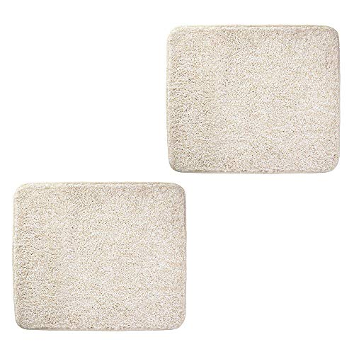 mDesign Soft Microfiber Polyester Non-Slip Small Rectangular Spa Mat, Plush Water Absorbent Accent Rug for Bathroom Vanity, Bathtub/Shower, Machine Washable - 2 Pack, 21' x 17' - Heather Linen/Tan