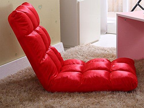 La Chaise de Plancher rembourrée Pliante multifonctionnelle Molle Confortable de Sofa Paresseux avec la Chaise réglable de Dossier (Couleur : Red)
