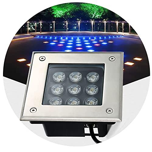 Exterior Foco LED Empotrado para Exterior Cuadrado Luces Enterradas Adecuado para Patio, Césped, Camino IP66 a Prueba de Agua (Color : Warm Light, Size : 3W)