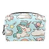 Bolsa de maquillaje TIZORAX con diseño de unicornio arcoíris y estrellas, para mujeres, para el cuidado de la piel, neceser práctico bolso de mano con cremallera
