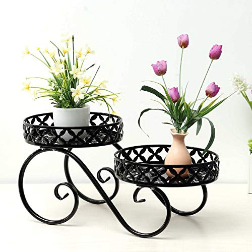 Tammy Yerkes Wrought Iron Potted Stander Flower Pot Rack Stand Floor Display Shelf Outdoor Indoor Patio Garden Balcony Table Round Supports for Flowerpot Plant Holder Rustproof Porch Home Decor