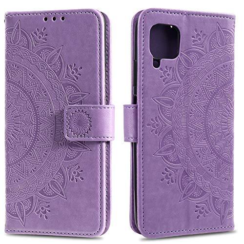 HTDELEC Huawei P40 Lite Hülle,Ultra Slim Flip Hülle Violett Etui mit Kartensteckplatz & Magnetverschluss Leder Wallet Klapphülle Book Hülle Bumper Tasche für Huawei P40 Lite(T-Violett)