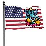LCEMCOLDAE Proud American USA Flag Ganesh Lord Ganesha Hindu Flag 4x6ft Colorfast Uv Resistant 100% Polyester Durable Flag