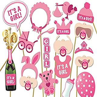 20pcs/set Its A Girl Pink Photo Booth Props Photobooth DIY Kits on Sticks Perfect Baby Shower Babyshower Decoration Favor ...