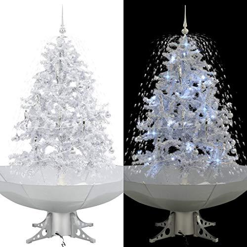 vidaXL Schneiender Weihnachtsbaum mit Schirmfuß Schneefall Kugeln LED-Lampen Tannenbaum Christbaum Kunstbaum Dekobaum Schnee Weiß 140cm