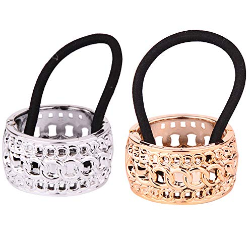 Metallic Plating Pattern Circle Cuff Hair Rings Silver and Gold Elastic Hair Ties Ponytail Holder Spring Clasp Wrap Ponytail Cover Hair Clips Hair Rope