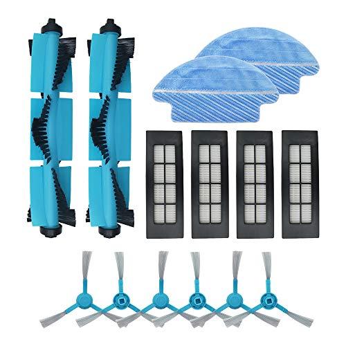 WuYan Kit de repuesto para accesorios de repuesto para Cecotec Conga 3090 aspiradora, incluye 2 cepillos de rodillo, 2 paños de paño para fregona, 4 filtros HEPA, 6 cepillos laterales