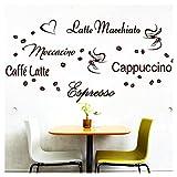 Wandora Wandtattoo Kaffee-Sorten I braun I Herz Kaffeetasse Kaffeebohnen Küche Esszimmer Sticker...