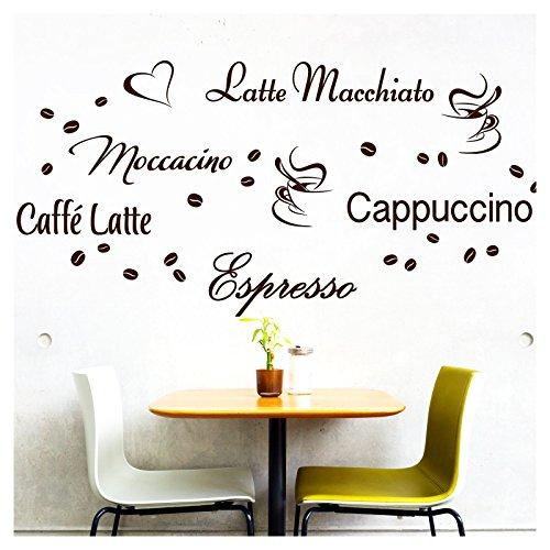 Wandora Wandtattoo Kaffee-Sorten I schwarz I Herz Kaffeetasse Kaffeebohnen Küche Esszimmer Sticker Aufkleber Wandaufkleber Wandsticker G006