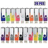 Clé USB 8Go Lot de 20 Cle USB 2.0 Mémoire Stick Pivotant Stockage Flash Drive Grande Vitesse pour PC/Ordinateur Portable/Voiture Bon Cadeau pour Enfants et Amis 10 Couleurs Mixtes