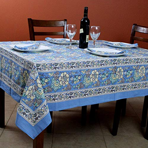 India Arts French Country Floral Print Tablecloth Square Cotton Table Linen Beach Sheet Beach Throw (Blue, Tablelcoth 72 x 72 inches)
