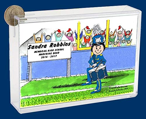 Personalized Friendly Folks Cartoon Caricature Bank: Marching Band – Drum Snare – Female