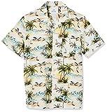 Amazon Brand - 28 Palms Men's Standard-Fit 100% Cotton Tropical Hawaiian Shirt, Tan Scenic Palm Trees, Medium