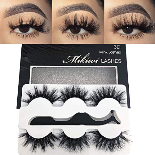 Mikiwi Real Mink lashes, 3D Mink Lashes, 5D Mink Lashes, Fluffy Long Mink Eyelashes, Dramatic Lashes, Luxury Makeup, Valentine's Day Gifts eyelashes (3pairs-a)