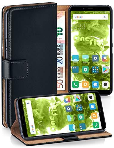 MoEx Premium Book-Hülle Handytasche passend für Xiaomi Redmi 7A   Handyhülle mit Kartenfach & Ständer - 360 Grad Schutz Handy Tasche, Schwarz