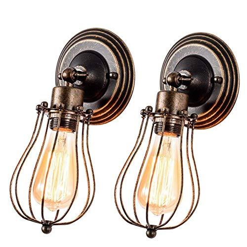 Applique Vintage Applique Industrial Regolabile in Metallo Lampade Da Parete Interno Lampade Rustiche E27 per Bar Caffè Hotel Ristorante Loft e Cucina (Bronze 2 piacks)