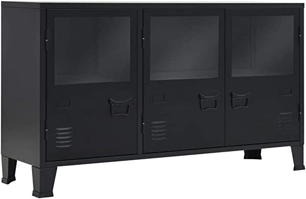 VidaXL Sideboard Storage Cabinet Console Case Side Cabinet With 2 Shelves And 3 Doors Glass Window Durable Industrial Style Metal Black