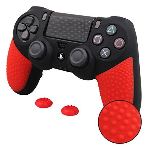 Pandaren® silicona grueso medio Fundas Protectores una mayor sensación de agarre el mando PS4 (negro y rojo) x 1 + thumb grip x 2
