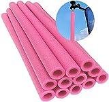 HOLITU Trampolin-Stangen-Schaumstoff-Ersatzhülsen, Set mit 12 Trampolin-Stangen, Sicherheitsabdeckungen, 40,6 cm lang, Klemmschaum-Polsterung für Trampolinrohr, pink