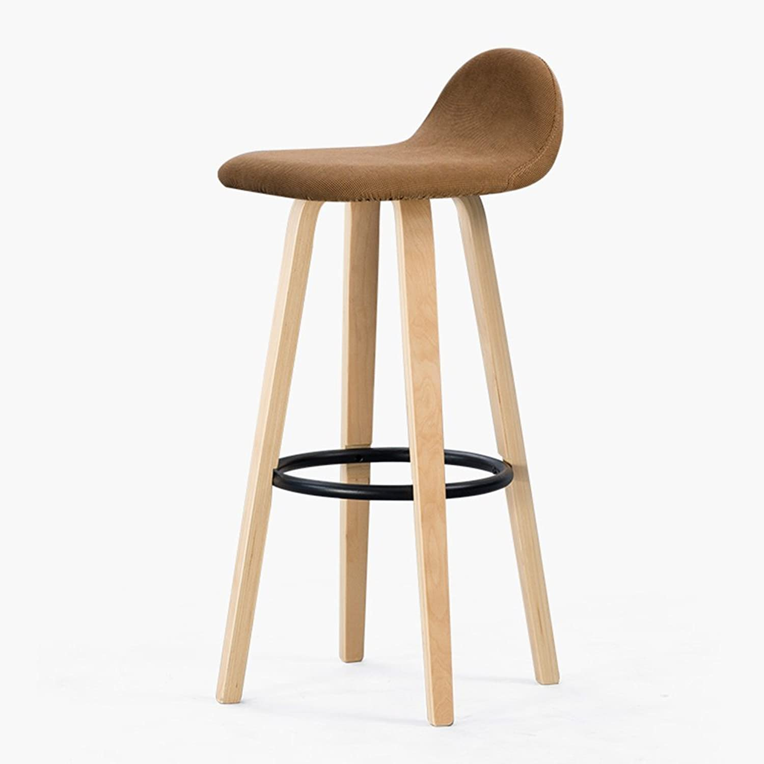 ZHIRONG Bar Stool, with Fabric Seat and Wooden Frame, Comfortable Backrest & Footrest (color   02)