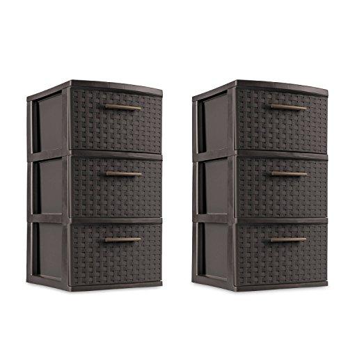 3 Drawer Storage Weave Cart Set of 2 Espresso Plastic Storage Box Organizer NEW