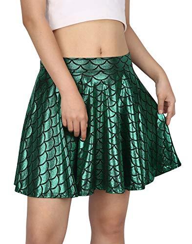 HDE Womens Shiny Mermaid Fish Scale Mini Flared Pleated Skater Skirt (Green, Medium)