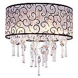 DINGGU Luxury Drum 4 Lights Flush Mounted Crystal...