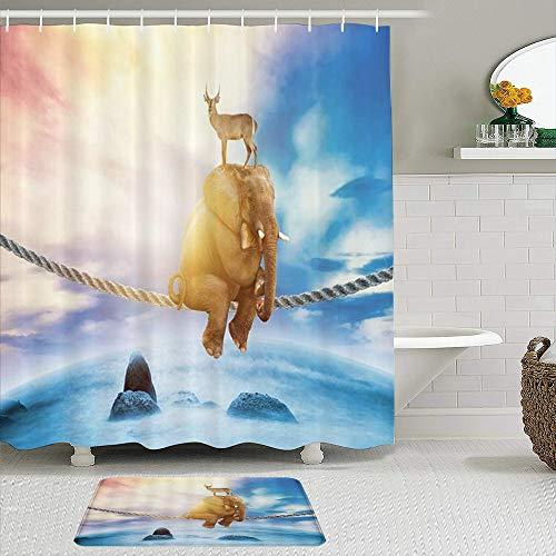 CVSANALA Juego de Cortinas de Ducha de 2 Piezas con Alfombra de baño Antideslizante,Elefante Columpio Animal,12 Ganchos,Decoración de baño Personalizada
