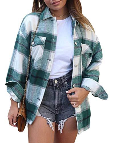Minetom Damen Oversized Karo Hemd Hemdjacke Kariert Holzfällerhemd Langarmhend mit Brusttaschen Hemdbluse Bluse Shirt B Grün Large