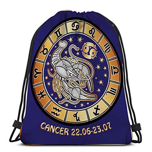 JHUIK Drawstring Bag Backpack,Mochila con cordón Bolsa deportiva para mujeres Hombres cáncer signo del zodiaco horóscopo círculo retro ilustra uno detrás de ellos símbolos todos los signos dorado blan