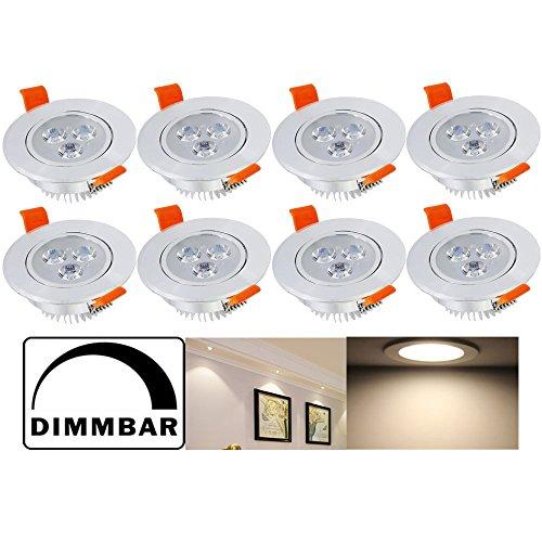 Hengda® 8er Set LED Einbaustrahler Dimmbar Aluminium Einbauleuchte Badleuchten 3W Warmweiss 230V nur 40mm Einbautiefe Einbauleuchten