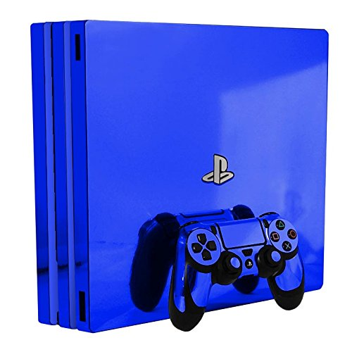 Blue Chrome Mirror Vinyl Decal Faceplate Mod Kit for Sony PlayStation 4 Pro Console by System Skins