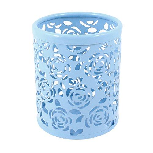 uxcell Light Blue Hollow Rose Flower Pattern Metal Pen Pencil Pot Holder Organizer