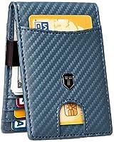 Toughergun Mens RFID Blocking Front Pocket Minimalist Slim Genuine Leather Wallet Money Clip(Premium Carbon Fiber Blue)