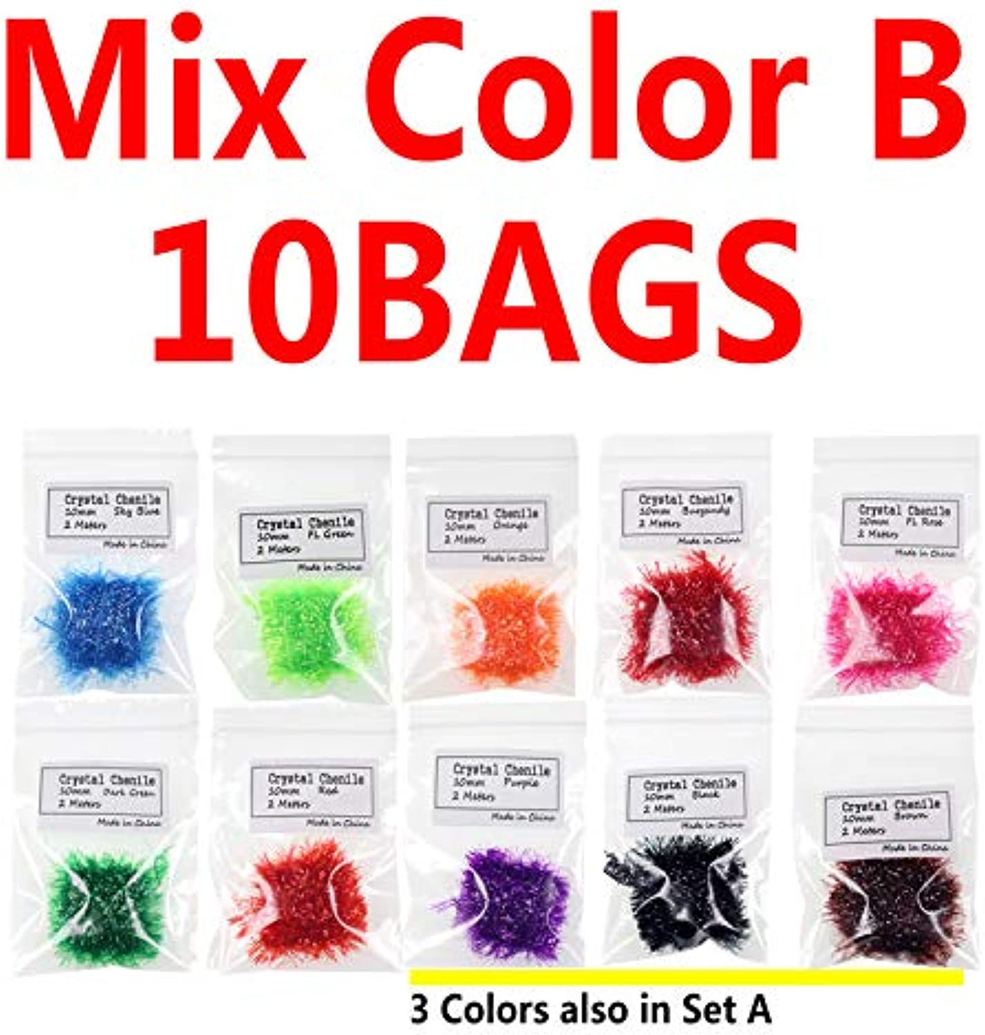 Generic 10PACKS 10mm Fly Tying Material Wide Crystal Flash Chenille Hackle for Streamer Salmon Egg 10bags B
