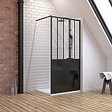 Pack de mampara de ducha 100 x 200 cm, color negro mate – Cristal templado 5 mm + recambiador de pie rectangular