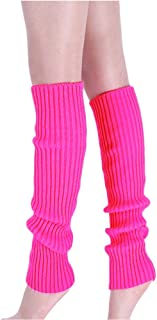 Womens Juniors 80s Ribbed Leg Warmers 80s Eighty's Knitted Crochet Long Sock for Party Sports Accessories